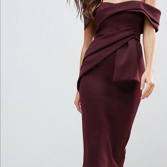 78418a79cfb52 ASOS Dresses & Skirts - ASOS Bardot Fold Wrap Front Midi Pencil Dress